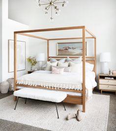 Feng Shui Lit, Bedroom Inspo, Bedroom Decor, 1920s Bedroom, Wood Canopy Bed, Canopy Bed Drapes, Canopies, Magnolia Homes, Solid Wood Furniture