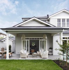 Outdoor Spaces - Gallerie B Hamptons Style Homes, Hamptons House, The Hamptons, House Paint Exterior, Exterior House Colors, Exterior Design, Outdoor Rooms, Outdoor Living, Outdoor Paint