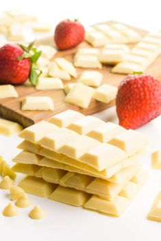 This vegan white chocolate recipe is easy to make and delicious! Make your own white chocolate at home without all the special tools and gadgets. This dairy-free white chocolate is rich and creamy. It makes a perfect topping for dipping your favorite sweets, or you can enjoy it as bars. #namelymarly #veganwhitechocolate #whitechocolate Best Vegan Desserts, Vegan Sweets, Vegan Snacks, Sweets Recipes, Dairy Free White Chocolate, White Chocolate Recipes, White Chocolate Chips, Chocolate Coating, Favorite Candy