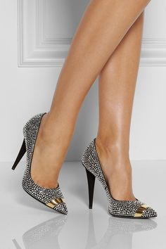 Giuseppe Zanotti | Ester crystal and metal-embellished suede pumps | NET-A-PORTER.COM - Beautiful