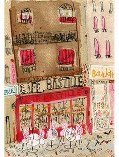 'Cafe Bastille Paris'  Giclee print 29.5 x 42 cm Edition size 195  £130