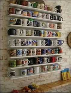 Mug shelf wall art---I need this for my collection of mugs from my travels.