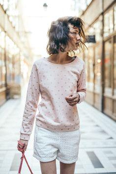 casual chic  printemps été 2017  la petite étoile print à pois  campagne  sweat shirt coton