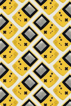 Gameboy Color: Yellow (Pattern) Art Print #90s #90´_ kids
