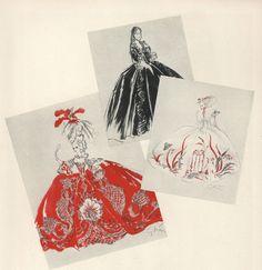 Adrian - Esquisses et Croquis - Costumier - Magazine Vogue 1938 - Robes de Norma Shaerer