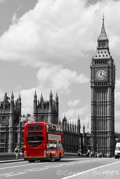 Big Ben With Red Double Decker Bus Photograph, London Black And White Photography, British Icon, Fine Art Photography, 8 x 10 Photo Print by CarolaBartz on Etsy