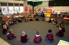 I really like the tape circle idea for circle time for the children to know how to sit so every child can see but change it to go along with the shape we are learning