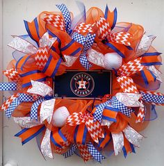 Houston Astros Baseball Wreath Fans only !!! Housewarming gift home office mancave wreath decor Orange Baseball fans by SouthernHeartWreaths on Etsy