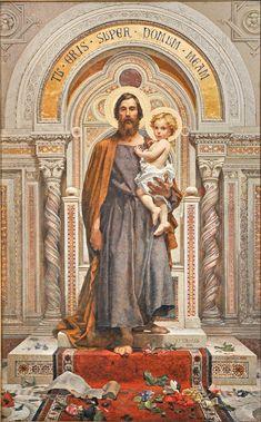 St Joseph w Jesus Catholic Saints, Catholic Art, Religious Art, Roman Catholic, Catholic Doctrine, Catholic Pictures, Jesus Pictures, St Joseph, Catholic Wallpaper