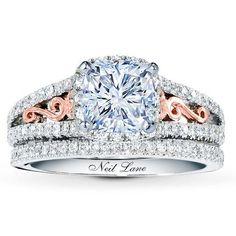 0.82 Carat F-SI2 Ideal Cut Cushion Diamond plus Neil Lane Bridal Setting 1 ct tw Diamonds 14K Two-Tone Gold