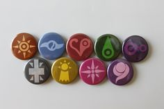 This is a collection of buttons for the 9 digimon crests. All art for these specific buttons were made by myself. This collection includes: