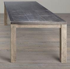 Railroad Tie Rectangular Dining Table - Simple Base. Restoration Hardward - aged zinc finish