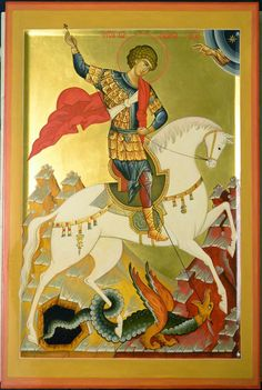 Hl Georg, Patron Saint Of England, Saint George And The Dragon, Sign Of The Cross, Art Icon, Patron Saints, Orthodox Icons, Monster, Little Sisters