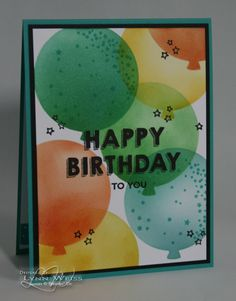 Seeing a bunch of colorful balloons makes me happy. This is the perfect card that can be used for a guy or gal of any age...just change up t...
