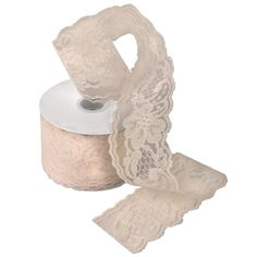ivory lace to trim burlap for wedding decorations
