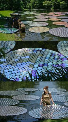 Do you think this is beautiful art or an environmental disaster?  More info: http://inhabitat.com/bruce-munro-turns-65000-cds-into-giant-shining-waterlilies/  -The LA Team  www.landarchs.com — with Eagle Barley, Faisal Isleem, Faisal Isleem and Bandar Jumah.