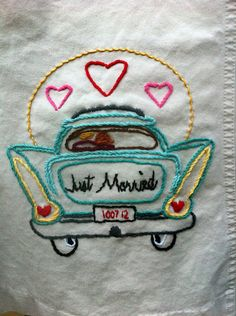 "Free. Kitschy fun ""just married"" dress embroidery for your honeymoon outfit 
