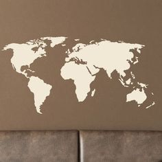 """Style and Apply World Map Wall Decal Size: 46"""" H x 94"""" W, Color: Dark Green"""