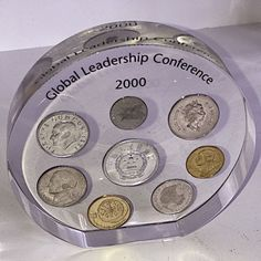 """International Coins In Lucite/Acrylic Paperweight """"Global Leadership Conference""""  