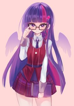 "✮ ANIME ART ✮ ""Anime-ified~!""♪ Twilight Sparkle from My Little Pony: Friendship is Magic. . .school uniform. . .plaid skirt. . .tie. . .book. . .glasses. . .long hair. . .purple hair. . .wings. . .cute. . .kawaii"