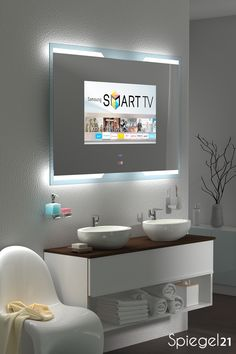 TV Spiegel mit Fernseher TV Spiegel mit Fernseher Ares GmbH aresgmbh TV Spiegel mit Fernseher Mirror with Smart TV Ob in nbsp hellip Living Room with tv Tv In Bathroom, Bathroom Mirror Design, Moroccan Bathroom, Smart Tv, Spiegel Tv, Smart Spiegel, Perspective Architecture, Living Tv, Tv Decor