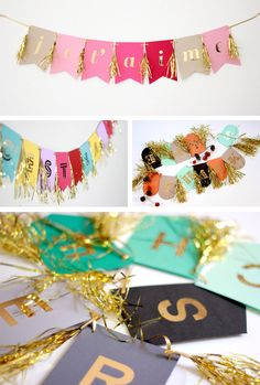 Whimsical party garlands in Decoration for babies, children and adults parties, for events such as anniversaries or birthdays or dinners