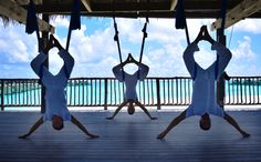 Have you tried aerial yoga? It brings together stretching, breathing and meditation with the weightless feeling of aerial arts Six Senses Laamu Maldives