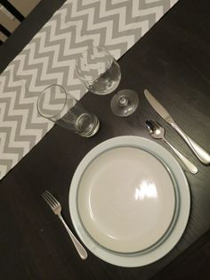 Chevron Table Runner in Grey & White / Ready to Ship Chevron Table Runners, Premier Prints, Zig Zag Pattern, Grey And White, Lily, Ship, Sweet, Shopping, Decor