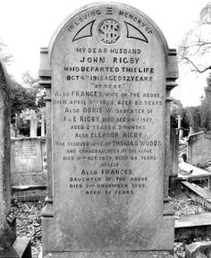 Eleanor Rigby's gravestone -- St Peter's Church, Liverpool, undated [421 x 515]