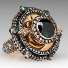 Kk Designer Green Tourmaline Statement Ring