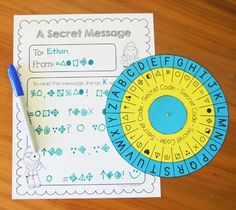 Secret code wheel - can use for spelling practice, writing activities, word work, etc. (Free!)