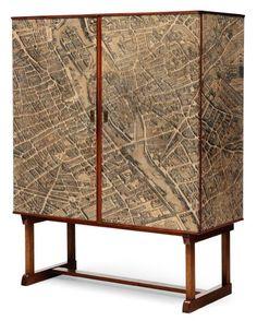 JOSEF FRANK (1885-1967) Cabinet Paris par Turgot Papier, chêne et bouleau Vers 1950 H_154 cm L_121 cm P_52,5 cm retiré/withdrawn - Pierre Bergé & Associés - 25/03/2012