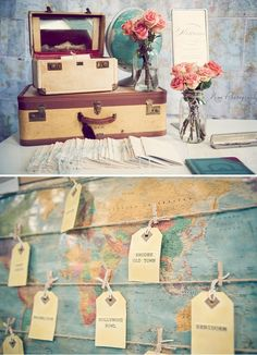 Name cards for a travel themed wedding! Travel Themes, Travel Posters, Travel Party, Travel Logo, Packing Tips For Travel, Travel Scrapbook, Name Cards, Vintage Postcards, Travel Pictures