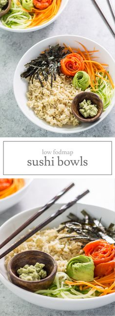 Low Fodmap Sushi Bowls are filled with brown rice, smoked salmon, nori and low fodmap veggies. Easy to toss together quickly, enjoy this on a busy night instead of takeout. Another easy low fodmap recipe! Ic Recipes, Fodmap Recipes, Low Calorie Recipes, Salmon Recipes, Lunch Recipes, Healthy Recipes, Potato Recipes, Vegetarian Recipes, Dinner Recipes
