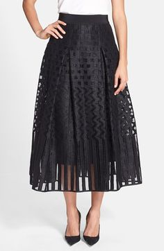 Milly+Illusion+Textured+Pleated+Midi+Skirt+available+at+#Nordstrom