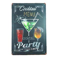 Shabby Chic Metal Tin Sign Coffee Cocktail Menu Vintage Art Poster Restaurant Coffee Cafe Bar Pub Tavern Wall Decor