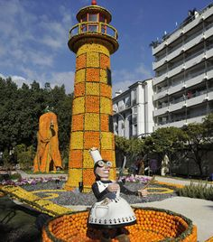 Citrus Lighthouse at Lemon festival 2012 in the south of France, Minton