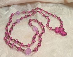 Purple And Lavender Faceted Beads Cross Necklace