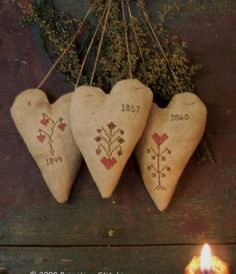 Primitive Stitched Heart Ornies - Primitive Stitchin by Shelly Auen