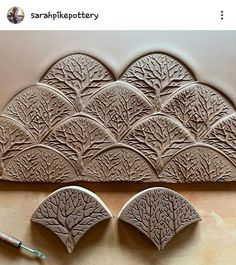 Playing with the idea of tangled deciduous woods. Three newly carved tree stamps for MORE variation.(The darker stamps are today's, the… Ceramic Workshop, Pottery Workshop, Ceramic Studio, Pottery Studio, Ceramic Tools, Ceramic Clay, Ceramic Pottery, Pottery Art, Pottery Painting