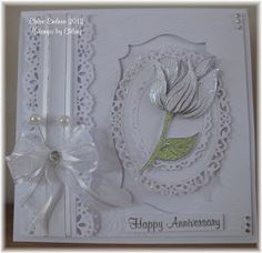 Hi All,   Todays card I have to show you, uses the Tulip stamp and Vine Leaves Texture Sheet.   I have stamped and embossed the Tulip in Wow...