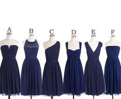 Short Bridesmaid Dresses Navy Blue Bridesmaid Dress Mismatch Maid of Honor Dress Girls Group Dress in Knee Length #bridesmaidsdresses