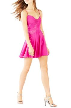BCBGMAXAZRIA 'Katalina' Pleat Georgette Skater Dress available at #Nordstrom