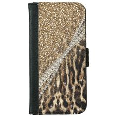 Beautiful chic girly leopard animal faux fur print iPhone 5 wallet case