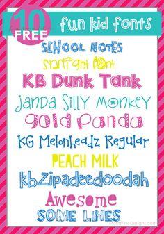 Super Fun Kid Fonts | Moritz Fine Blog Designs  ~~ {10 Free fonts w/ easy download links}