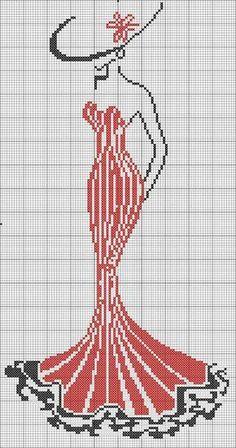 woman in red dress cross stitc