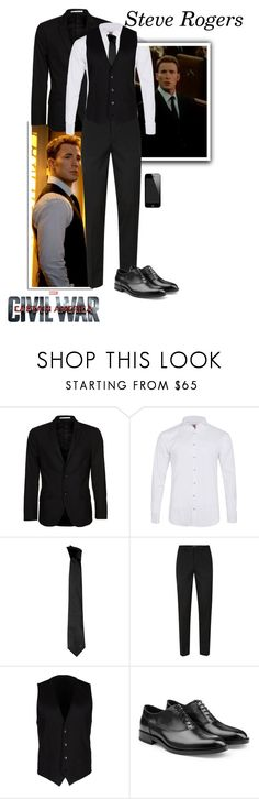 """Steve Rogers - Captain America: Civil War"" by gone-girl ❤ liked on Polyvore featuring Marvel, Bertoni, Labinjoh London, Versace, Topman, Dolce&Gabbana, Jil Sander, men's fashion, menswear and CaptainAmerica"