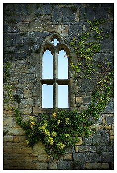 Pretty little window set in a stone wall weathered through centuries, captures a bygone age!