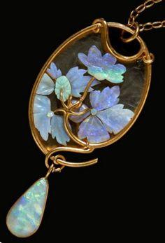René Lalique Opal Floral Pendant w/a Natural Drop Pearl | Wartski Auction…