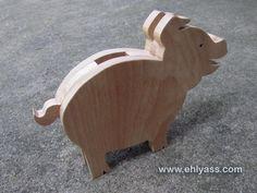 Tirelire Cochon en bois de hêtre massif
